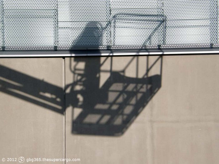 Shadow of a skylift cradle