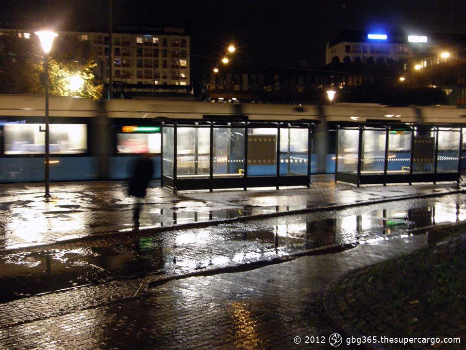 The tram in the rain
