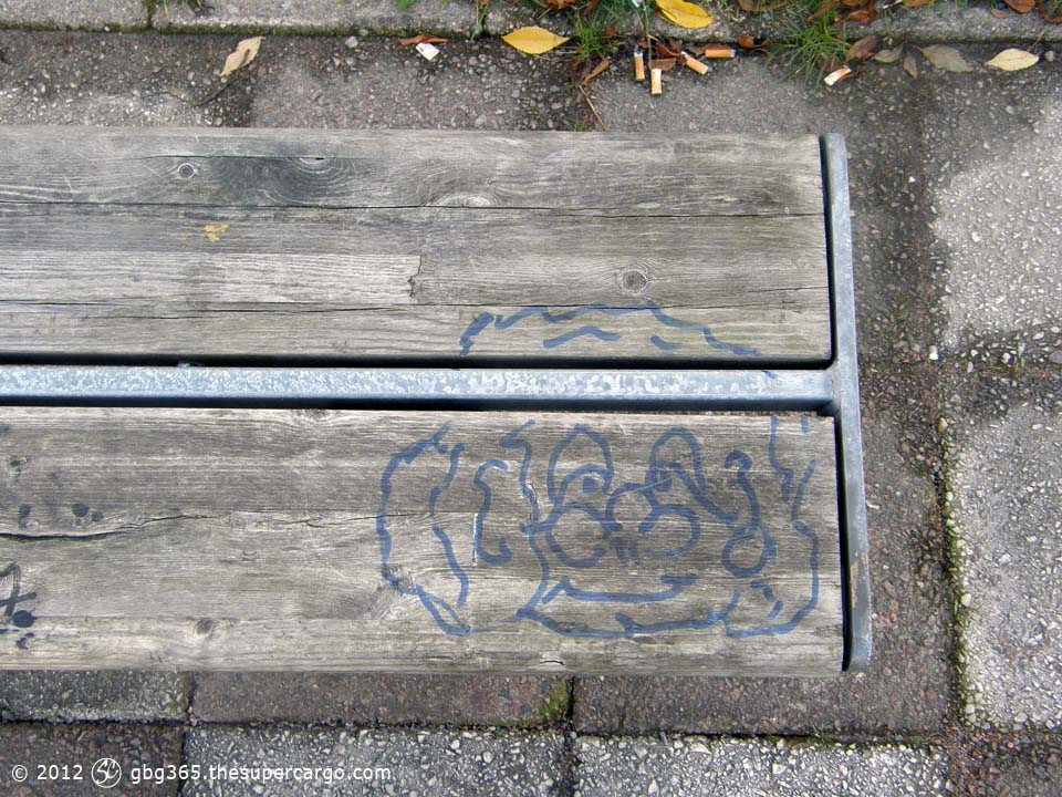 Face on a bench