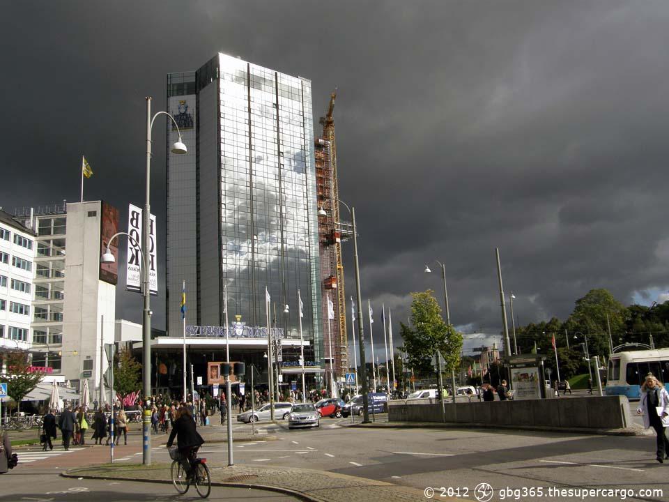 Gothia Towers under a threatening sky