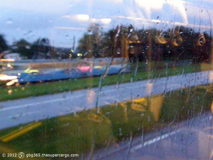 Through a rainy bus window near Eketrägatan