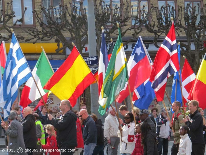 International flags on May Day