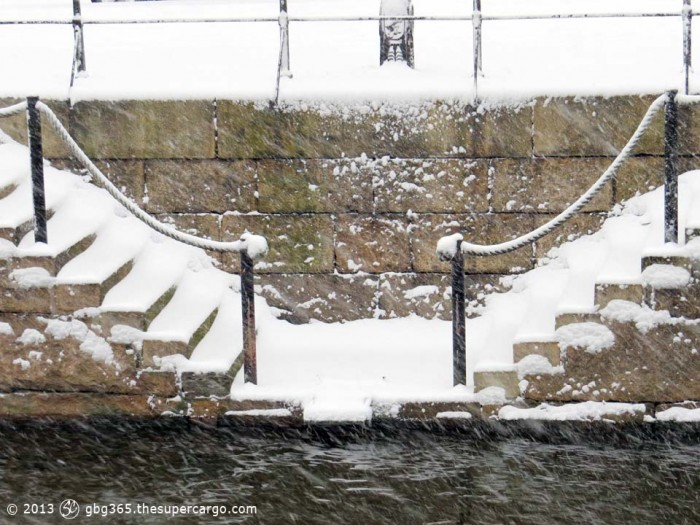 Canal steps under snow