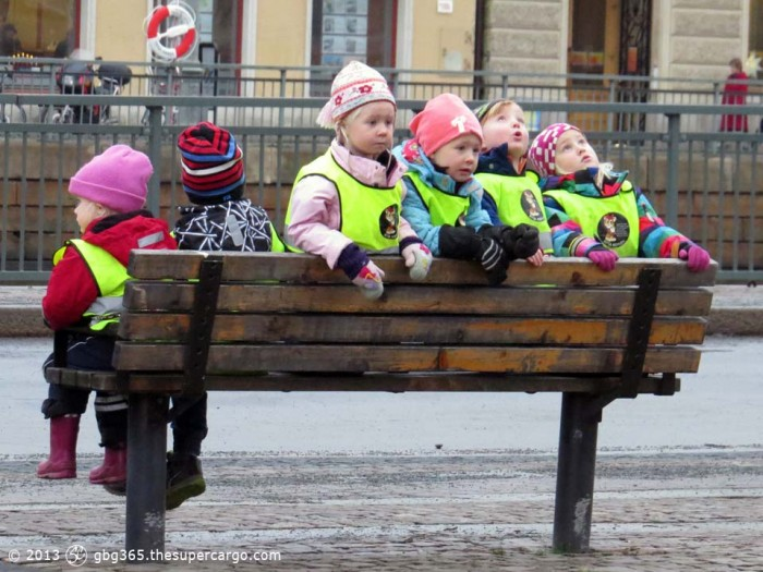 Kids on a bench