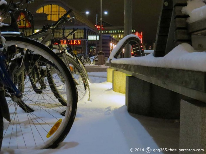 Bicycles in the snow