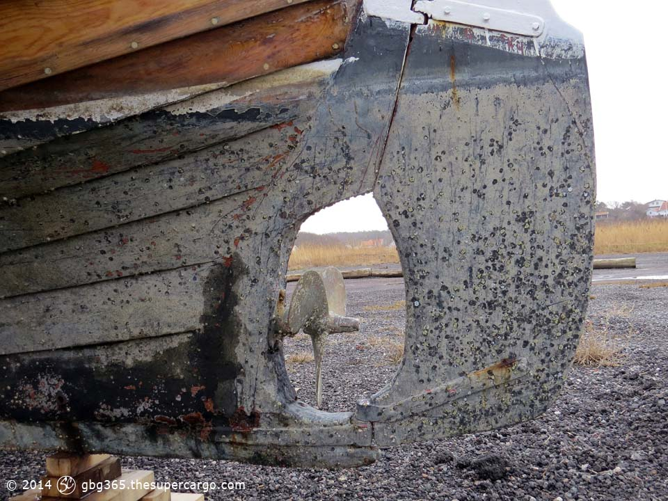 Fishing boat with barnacles