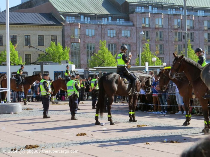 Mounted police protecting the SD