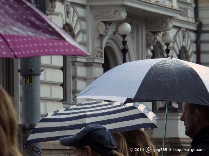 Differently patterned umbrellas