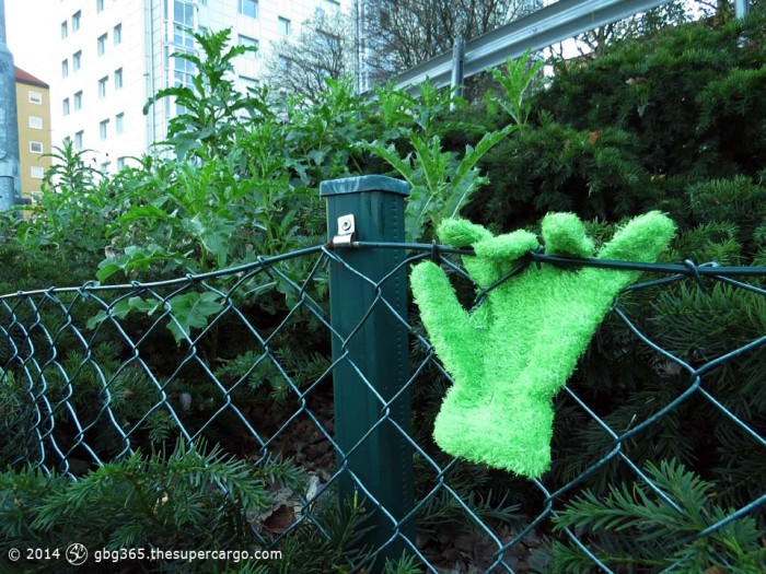 Green glove on a chainlink fence